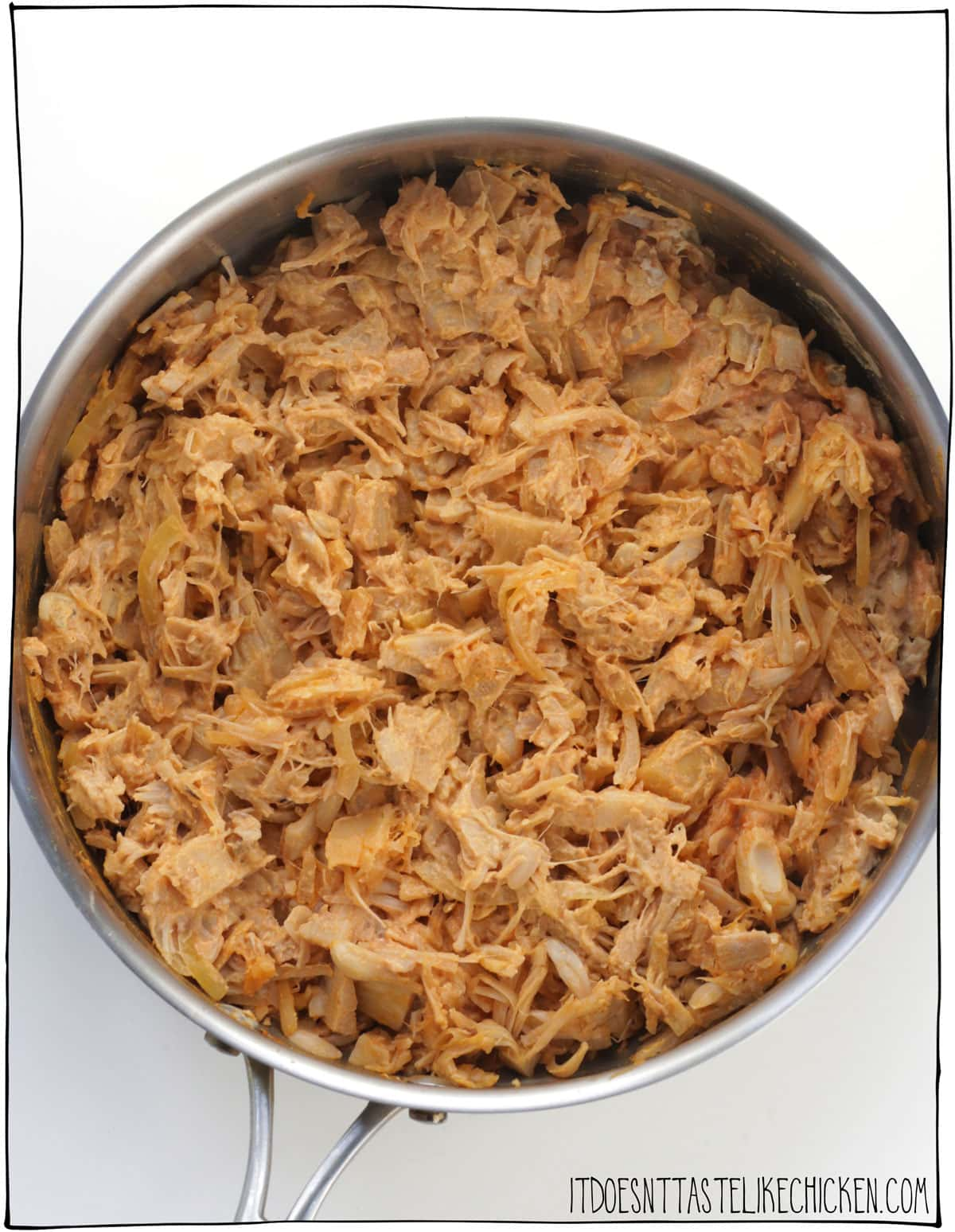 Easy Vegan Buffalo Jackfruit (vegan buffalo chicken)! Just 30 minutes or less to prepare and requires only 8 ingredients. Add this to tacos, pizza, dips, nachos, wraps, sandwiches, quesadillas, baked potatoes, grain bowls. Perfect game day inspired recipe for meal prepping and freezer friendly. #itdoesnttastelikechicken #jackfruit #veganrecipes