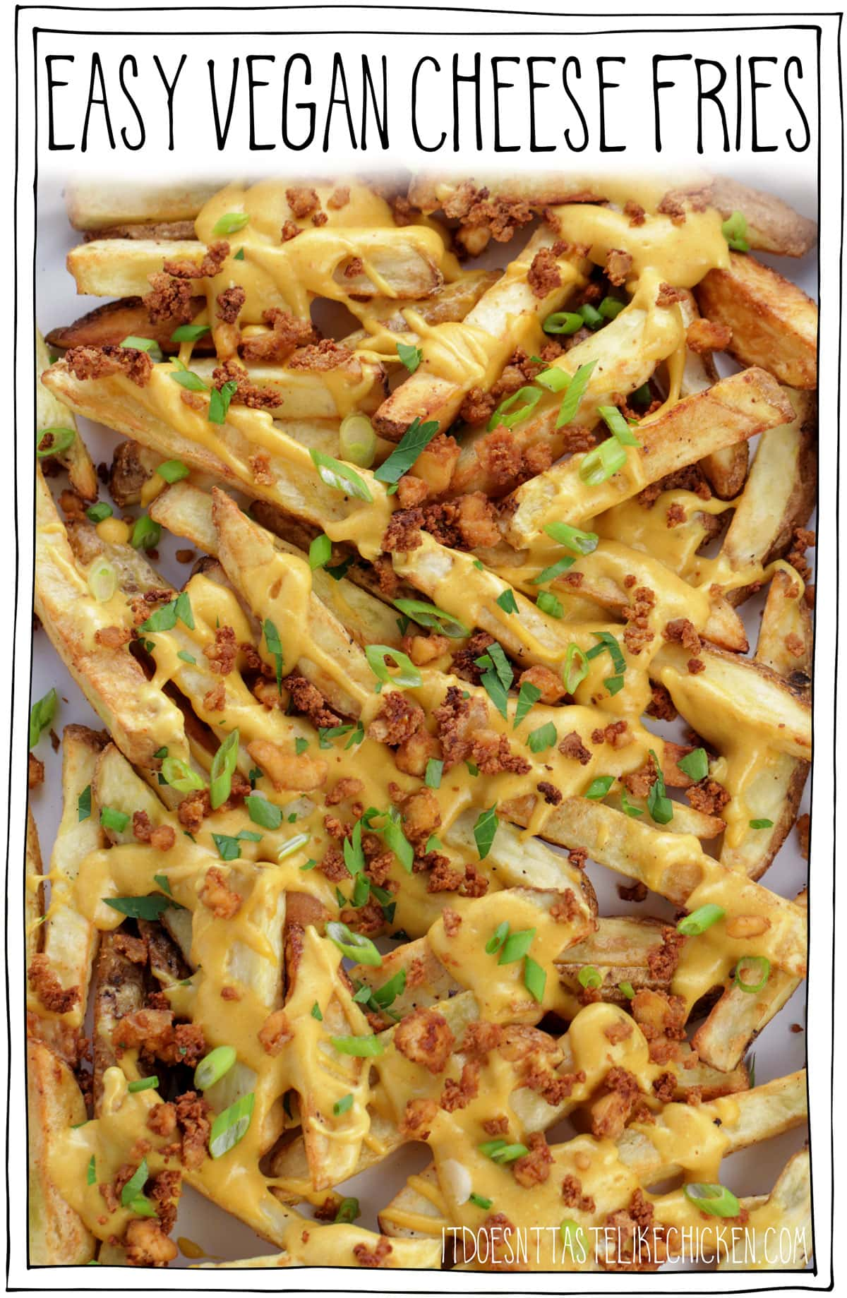 Easy Vegan Cheese Fries! Crispy french fries with homemade stretchy melty vegan nacho cheese, and tofu bacon bits. The perfect comfort food for movie night or game night. Surprisingly healthy and can even be made oil-free! #itdoesnttastelikechicken #veganrecipes #vegan