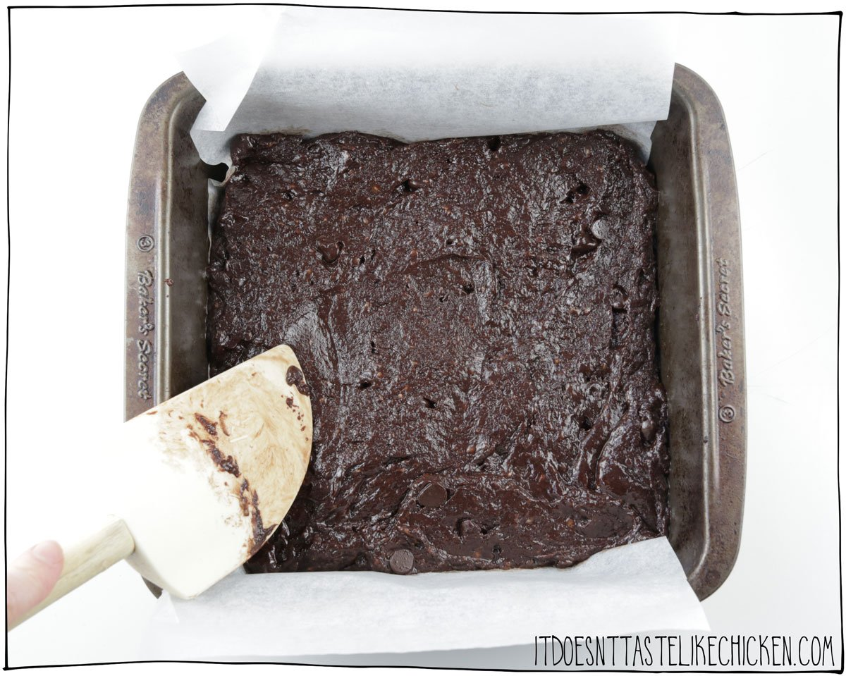 Spread the brownie batter into the pan and bake for 30 - 35 mintues
