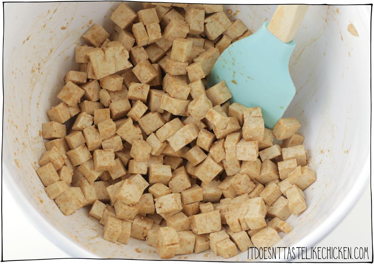 Toss the tofu with liquid smoke, soy sauce, and garlic powder.