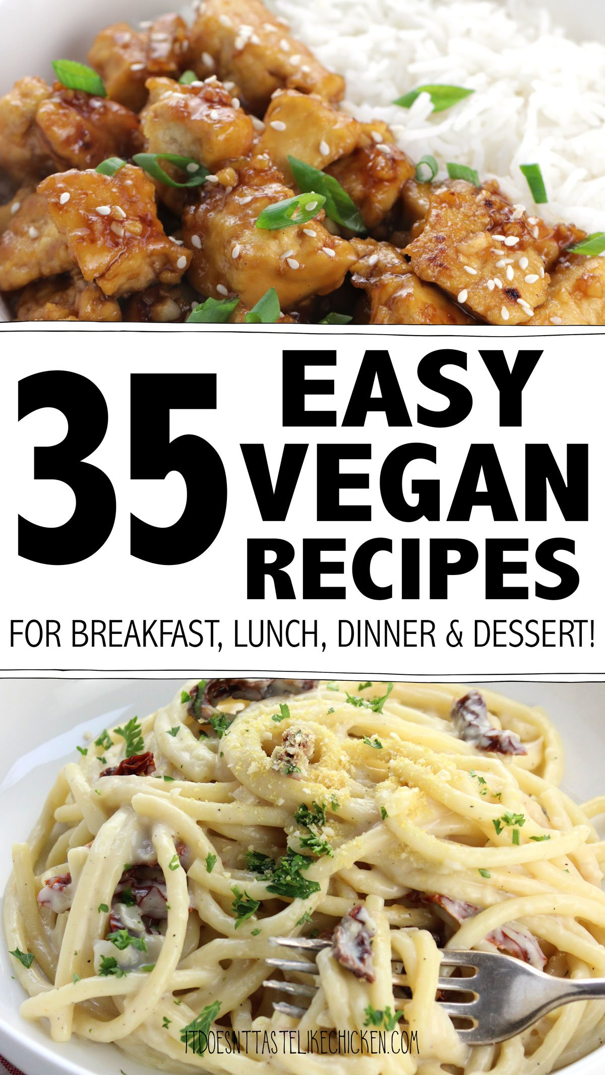 35 Easy Vegan Recipes for Every Meal! These are my go-to plant-based recipes for breakfast, lunch, dinner, and dessert. They are all so easy to make, super delicious, and super satisfying. #itdoesnttastelikechicken #veganrecipes