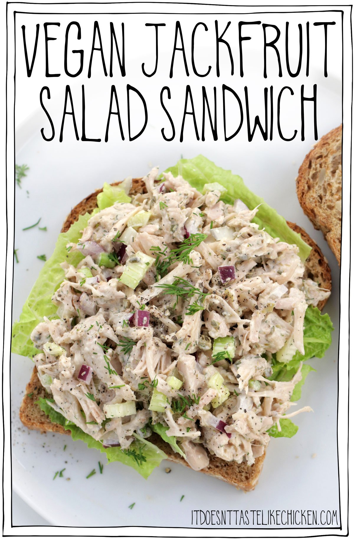 Vegan Jackfruit Salad Sandwich! Just 10 ingredients and 10 minutes to make. Jackfruit is the perfect vegan sub for tuna or chicken. And best yet this tastes even better made ahead of time, making it perfect for meal prep. #itdoesnttastelikechicken #veganrecipes