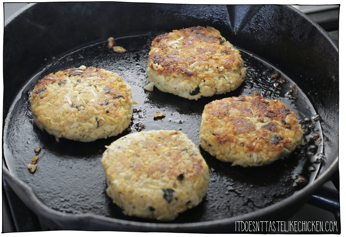 Cook the chickpea and artichoke patties in a skillet.
