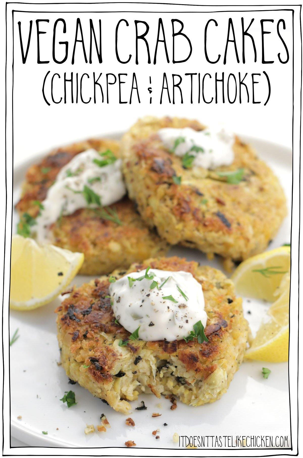 Just 9 ingredients and super-easy to make. These Easy Vegan Crab Cakes can be made in a skillet or a pan but I have also included air-fryer instructions as well as baked options! Oh, and they can be made oil-free! Flaky, tender, and creamy, these Easy Vegan Crab Cakes are next-level good! #itdoesnttastelikechicken #vegancrabcakes