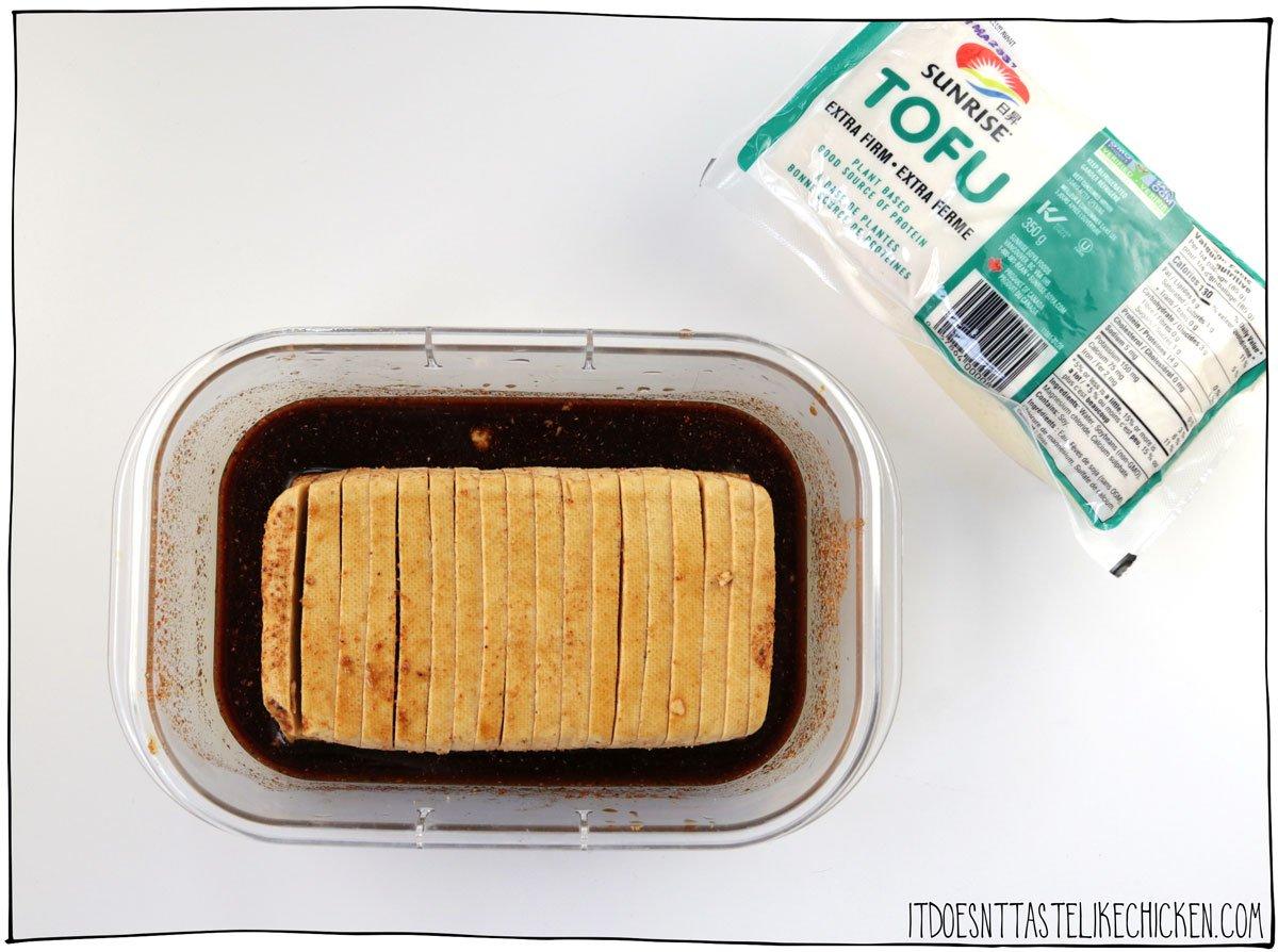 Marinade the tofu with soy sauce, chili powder, garlic powder, liquid smoke, and black pepper
