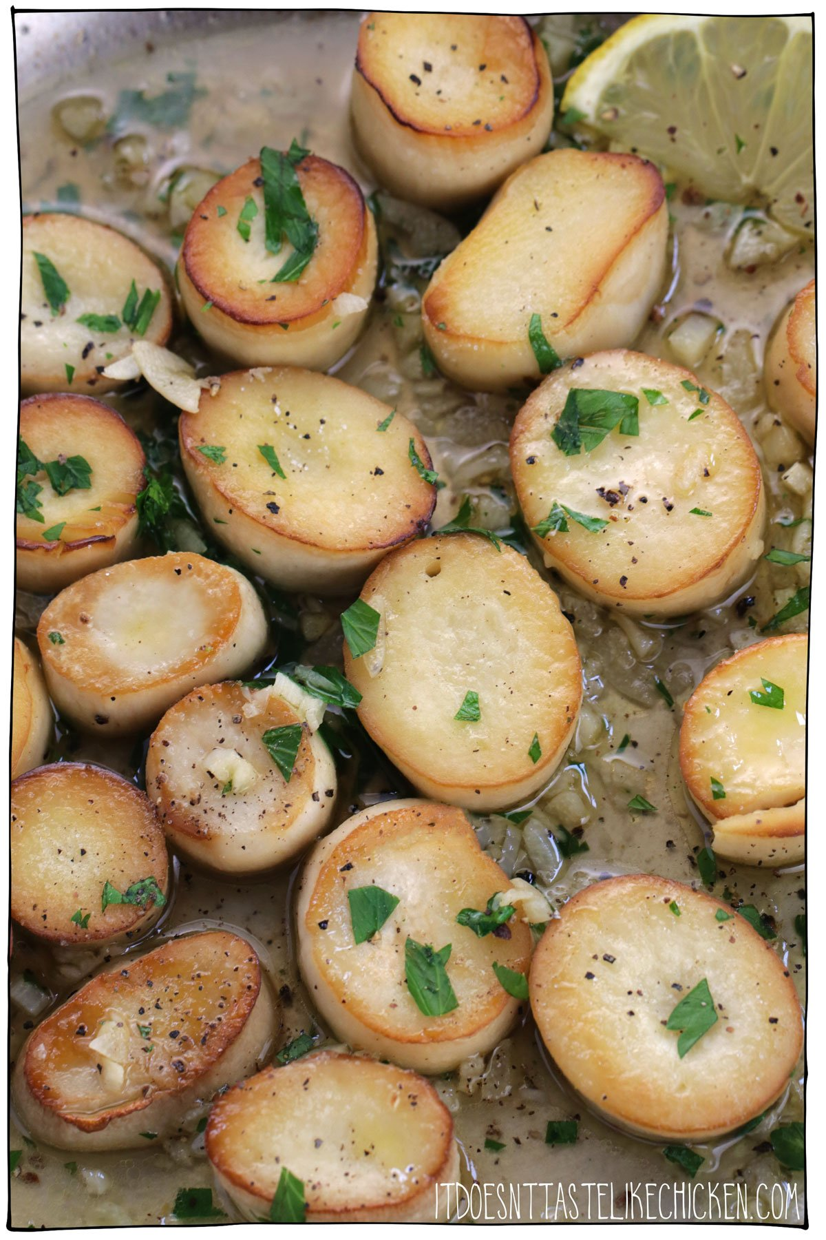 Vegan Garlic Seared Scallops