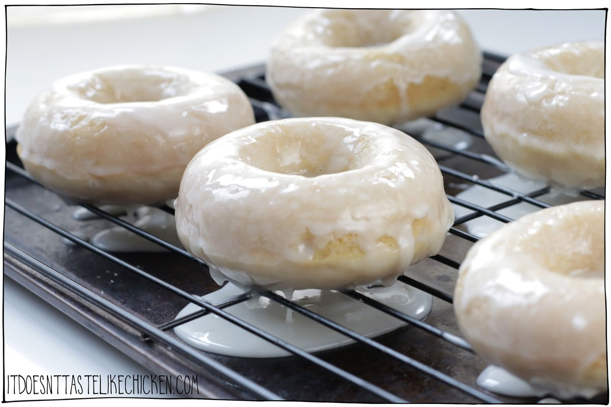 Dip both sides of the baked donuts into the glaze and let them drain off