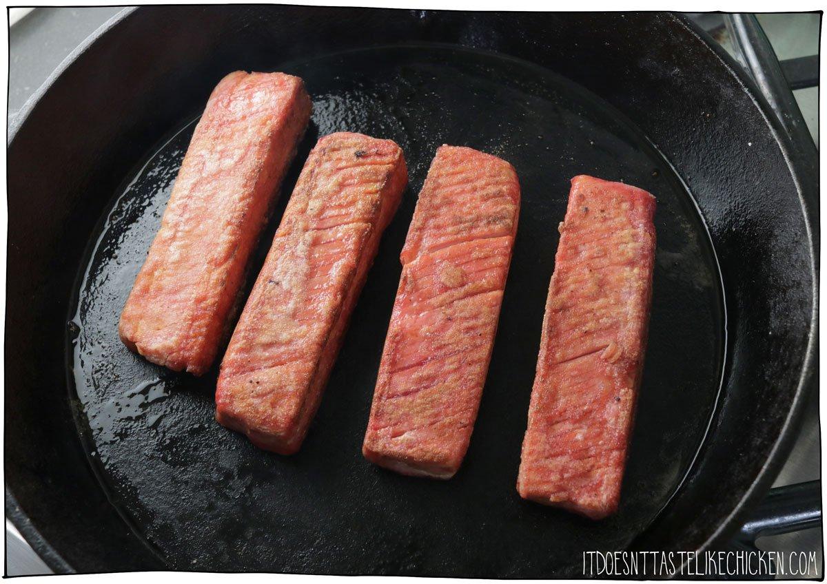 Pan-sear tofish fillets to make vegan salmon