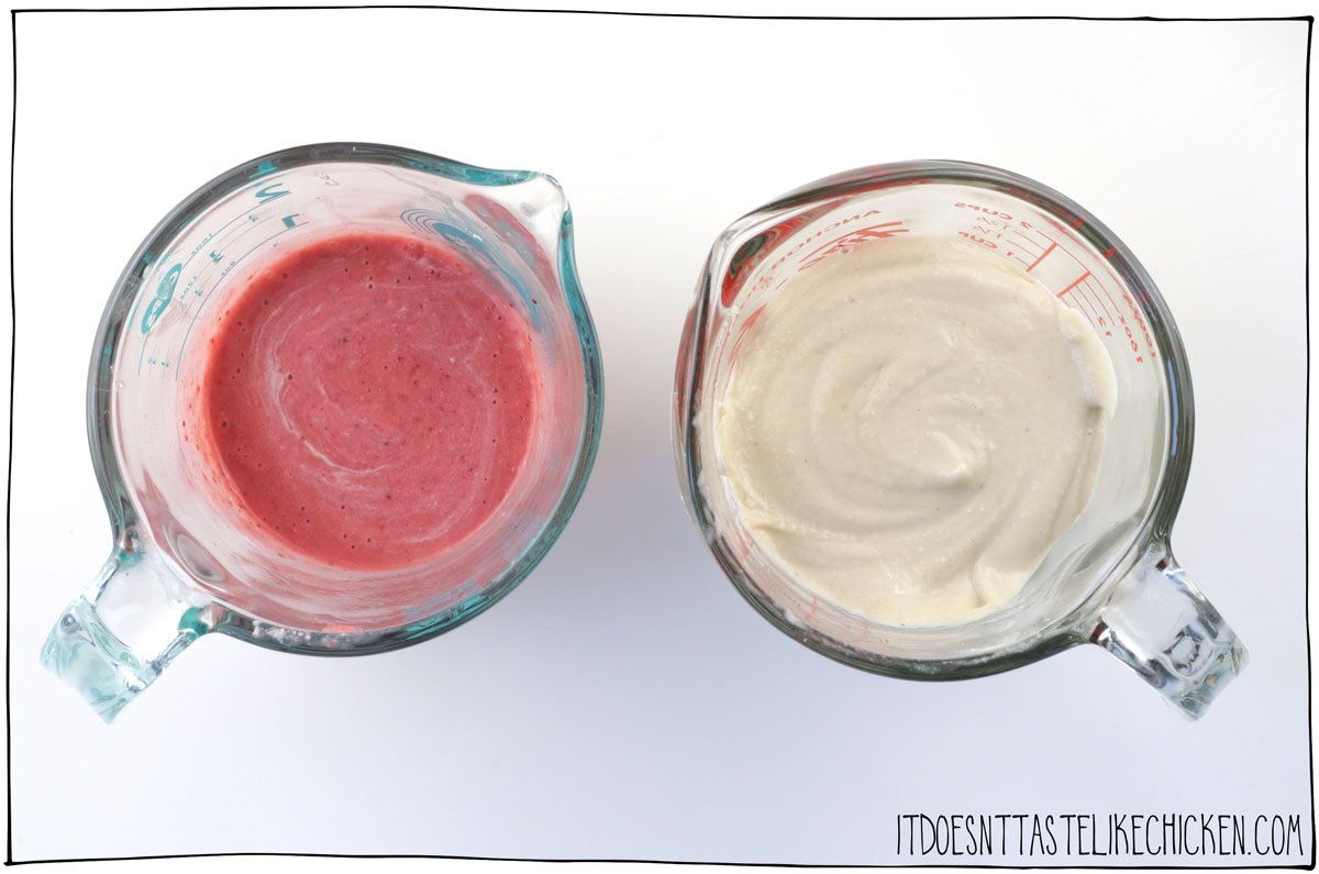 I like to put the strawberry and cheesecake layers into easy to pour containers.