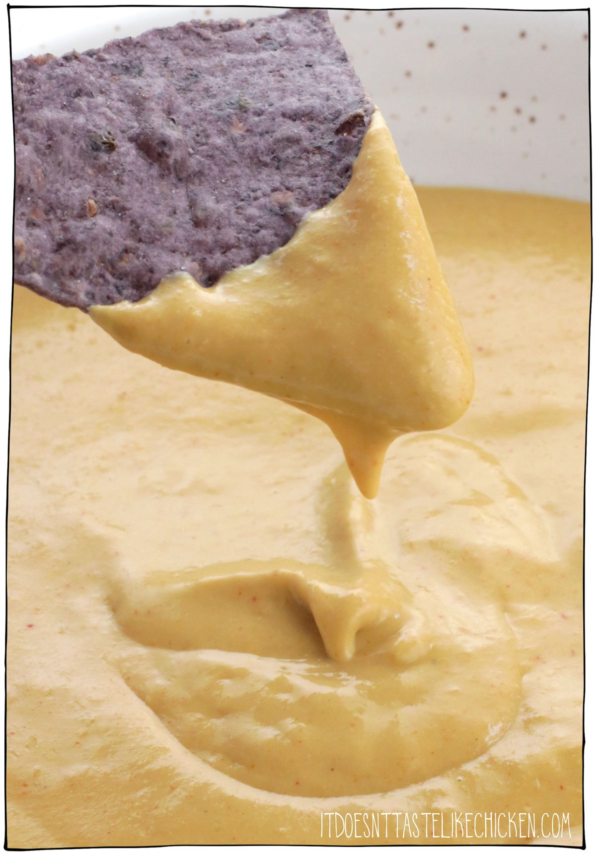 This easy vegan cheese sauce (no nuts) is the perfect vegan cheese recipe to drizzle on broccoli or a baked potato, to make nachos with, to use as a dip, to smother French fries for loaded cheesy fries (yes please!), or to enjoy with anything you like! This vegan cheese recipe is made with just 10 ingredients including raw sunflower seeds and a few other pantry staples, and when combined, they make the perfect creamy cheesy nut-free cheesy deliciousness. #itdoesnttastelikechicken #vegancheese