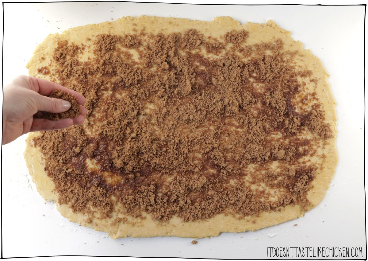 Roll the dough into a large rectangle then sprinkle with the brown sugar and pumpkin pie spice mix.