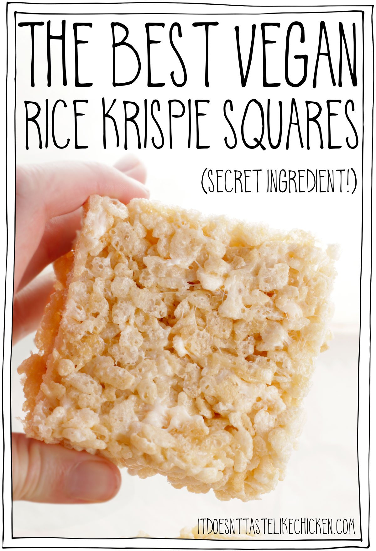 The best vegan rice Krispie squares! Just 10 minutes to whip up and only 6 simple ingredients. I also share with you my super-secret ingredient that makes these vegan rice Krispie treats the absolute hands-down best! Hint: these rice Krispie squares have a very slight birthday cake flavor!! Ooey gooey marshmallow with crispy rice cereal, talk about snack perfection. #itdoesnttastelikechicken #vegandesserts